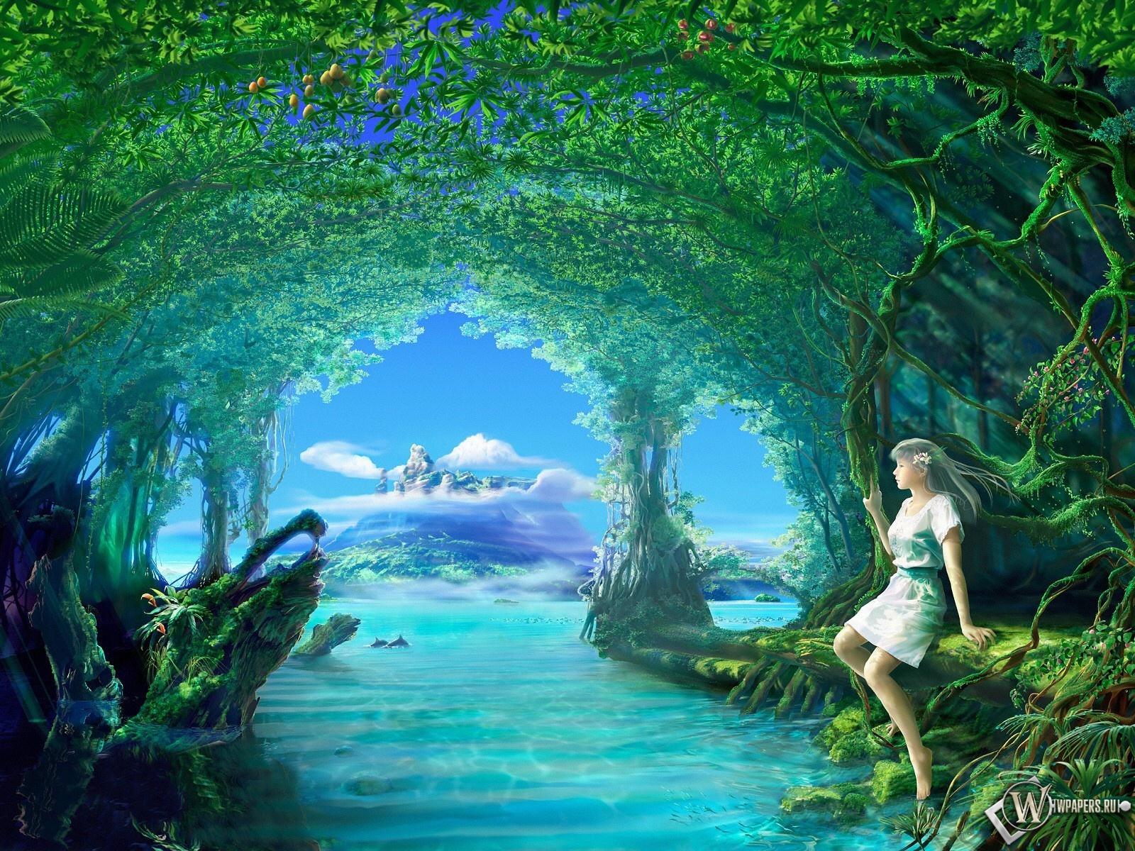 Девушка на берегу озера 1600x1200