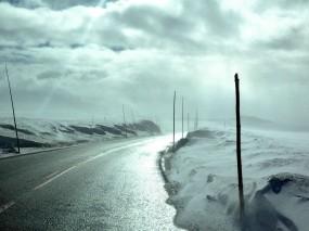 Обои Дальняя дорога Нестора Махно: Облака, Свет, Снег, Дорога, Небо, Прочие пейзажи