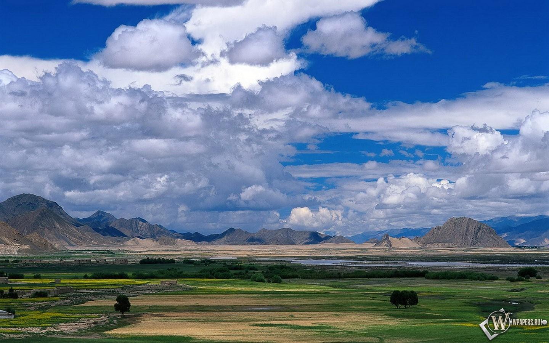 Облака над полем 1440x900