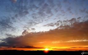 Обои Вечерний закат: Солнце, Закат, Вечер, Небо, Прочие пейзажи