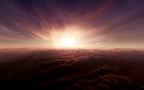 Обои Закат солнца над облаками: Облака, Закат, Sky, Clouds, Прочие пейзажи