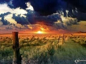 Обои Закат в пустыне: Ранчо, Забор, Колючая проволка, Кустарники, Прочие пейзажи