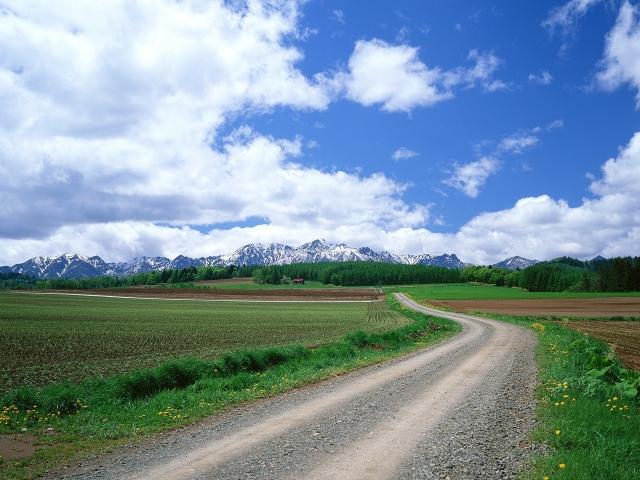 Скачать обои Дорога (Облака, Горы, Дорога, Поле) для