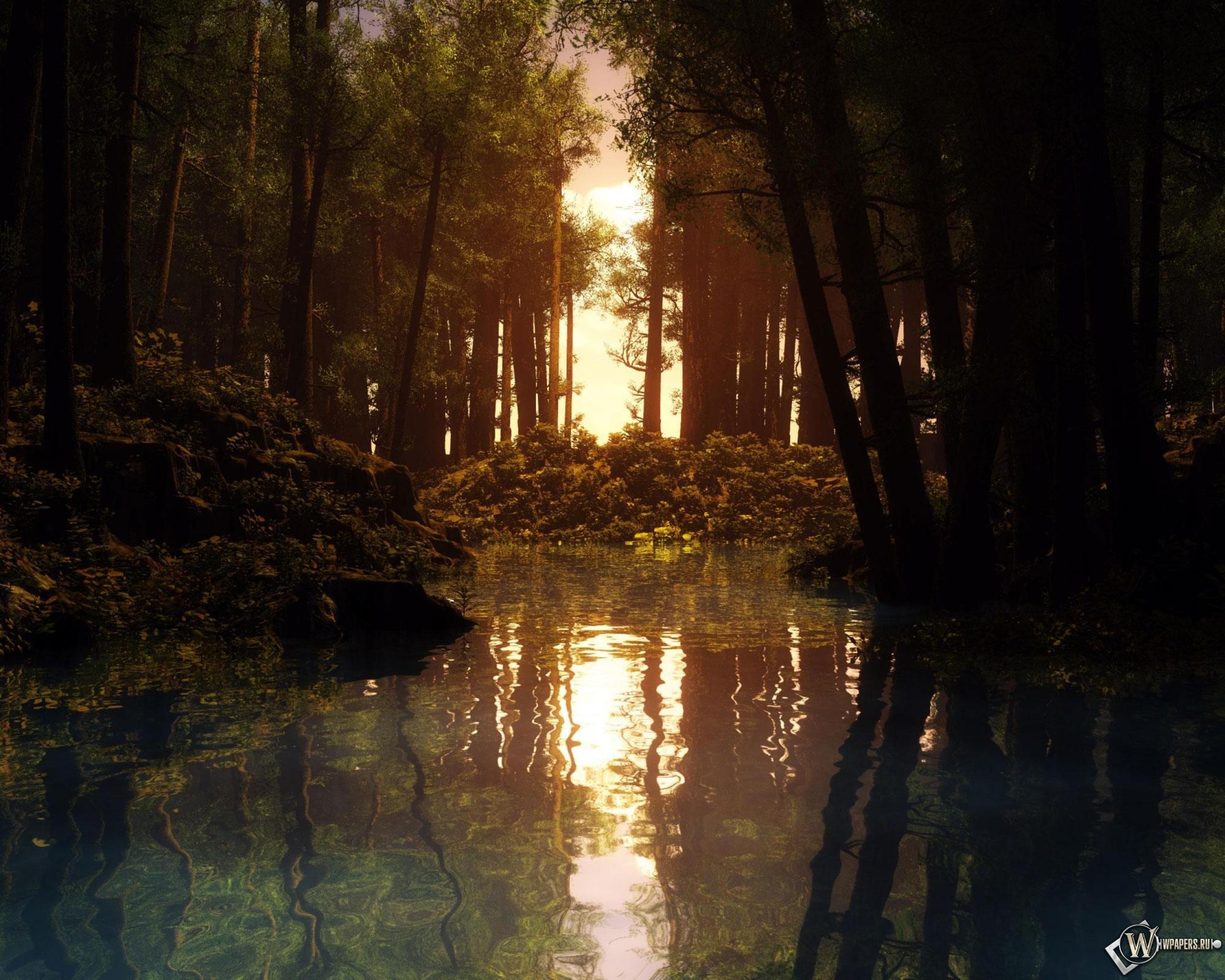 Обои речка в лесу на рабочий стол с
