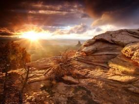 Обои Утро в пустыне: Пустыня, Скалы, Рассвет, Утро, Перекати-поле, Прочие пейзажи