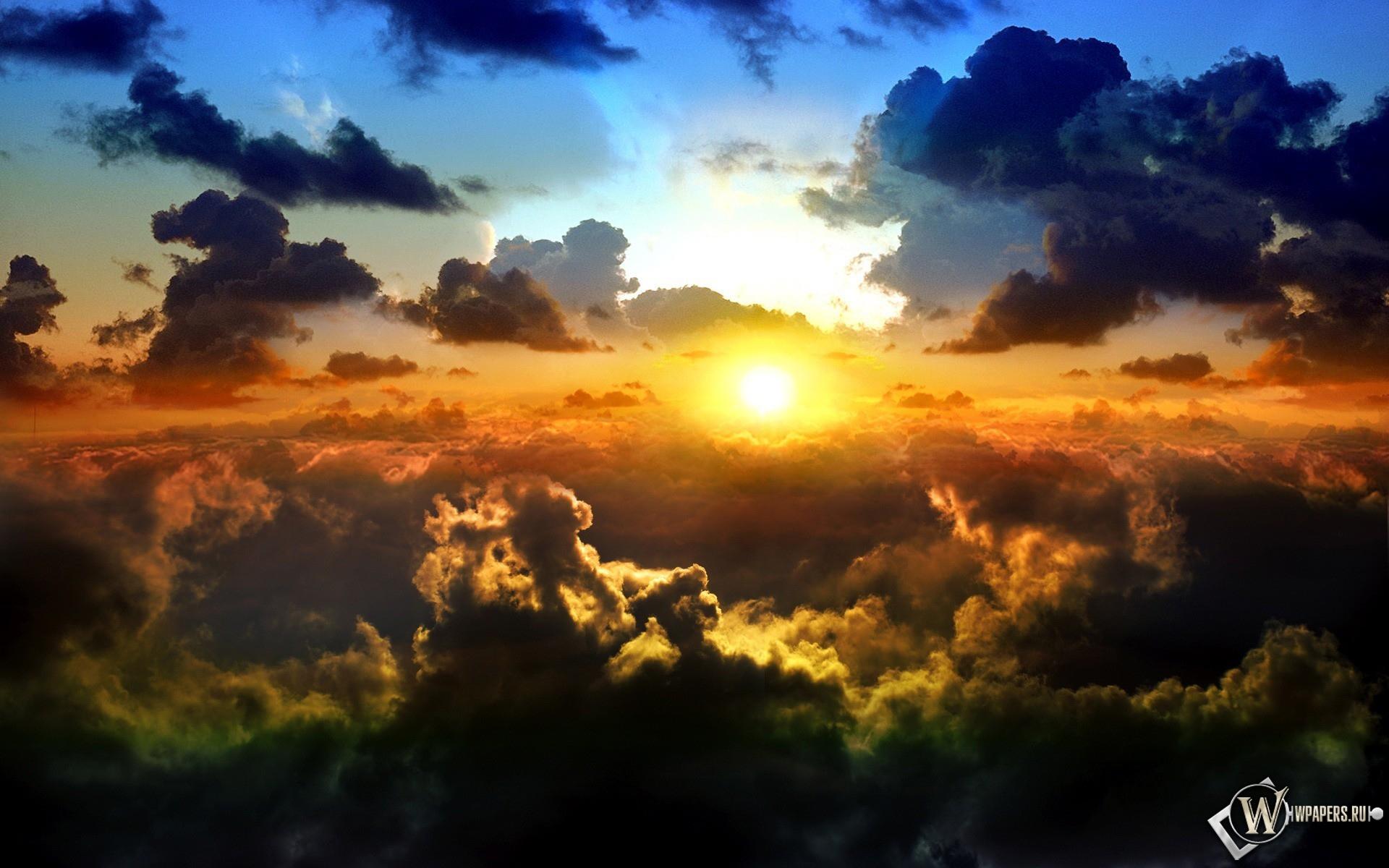 Солнце над облаками 1920x1200