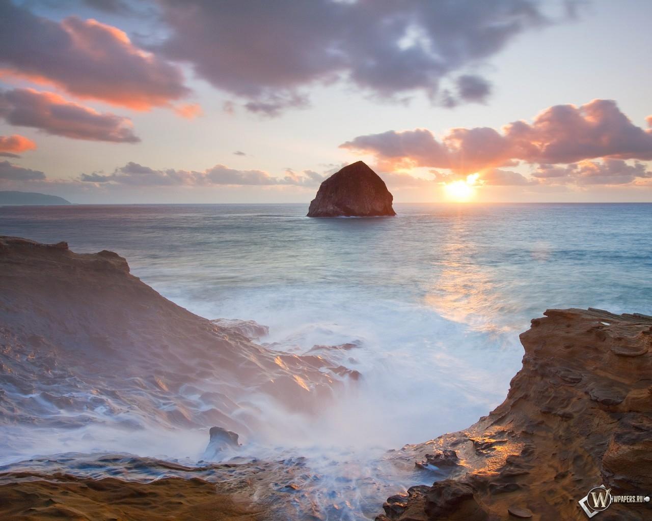 Море и скалы 1280x1024