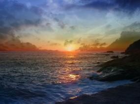 Обои Закат на море: Волны, Море, Закат, Вода и небо