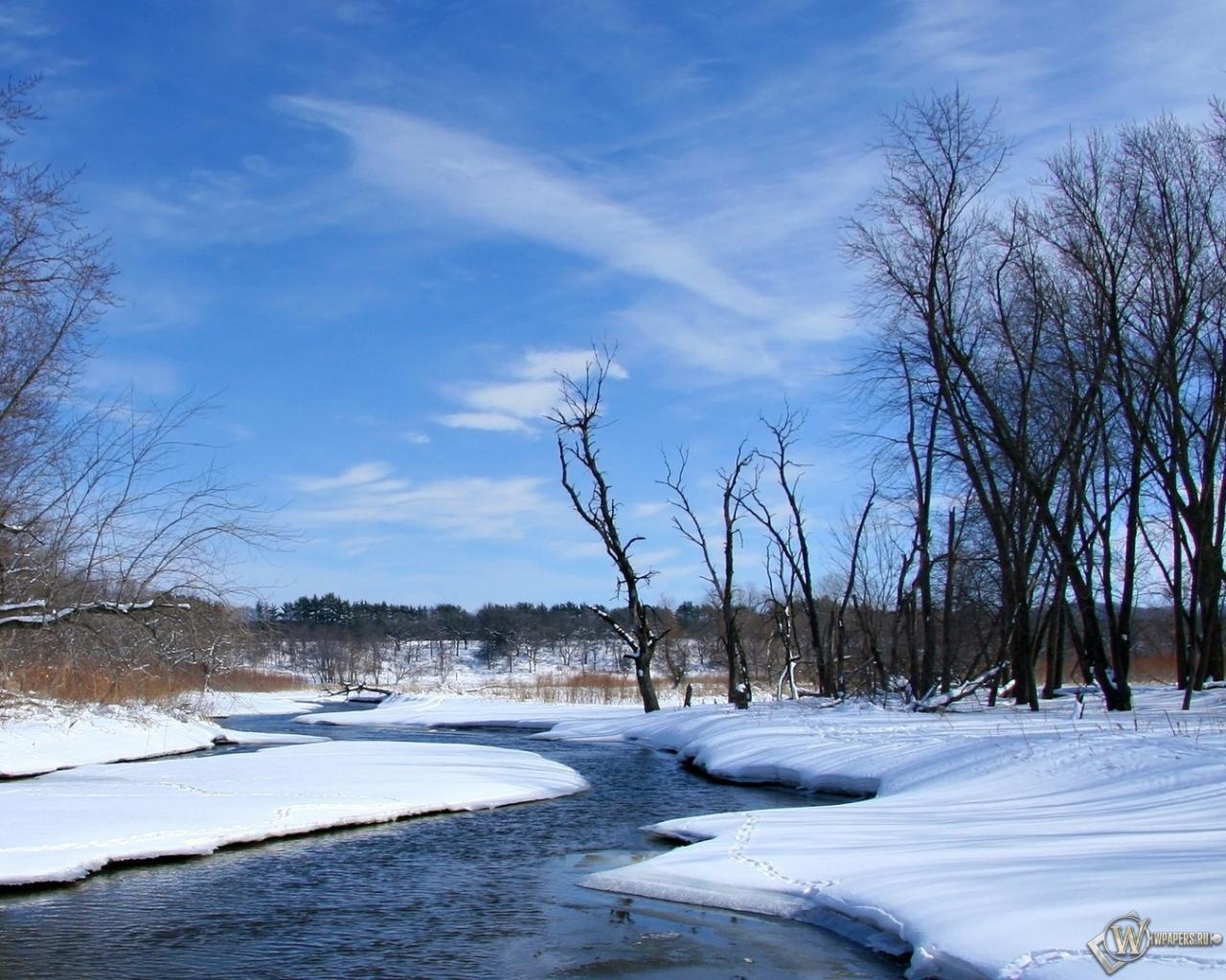Весна река снег природа небо весна