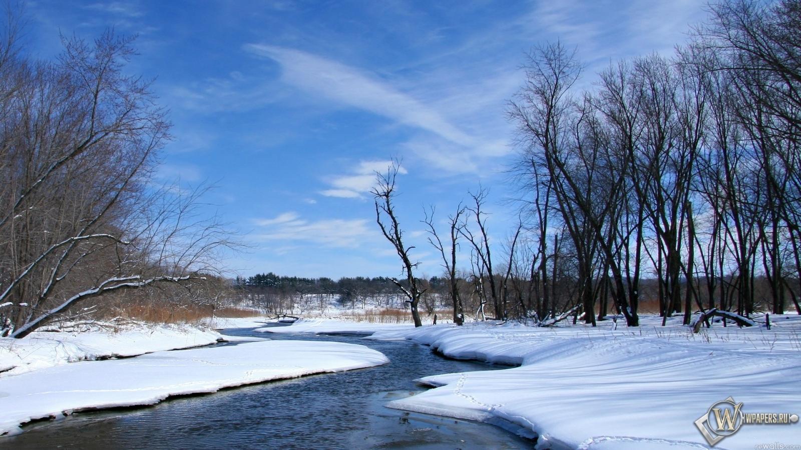 Обои весна река снег природа небо