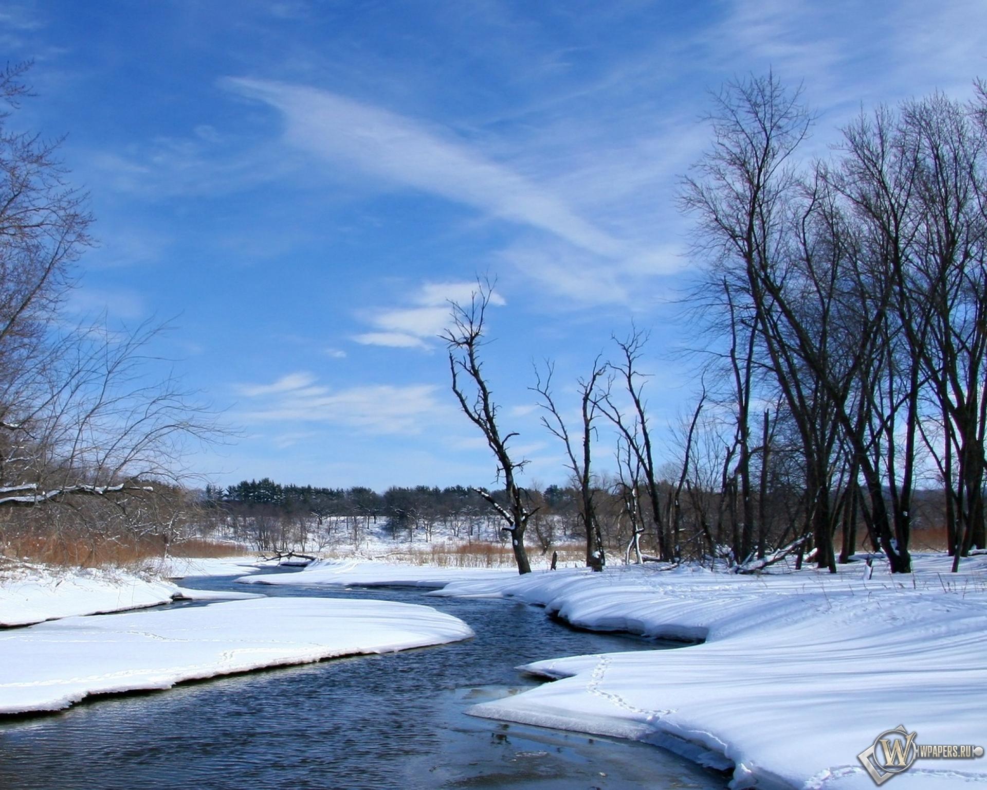 Весна, река, снег, природа, небо, весна