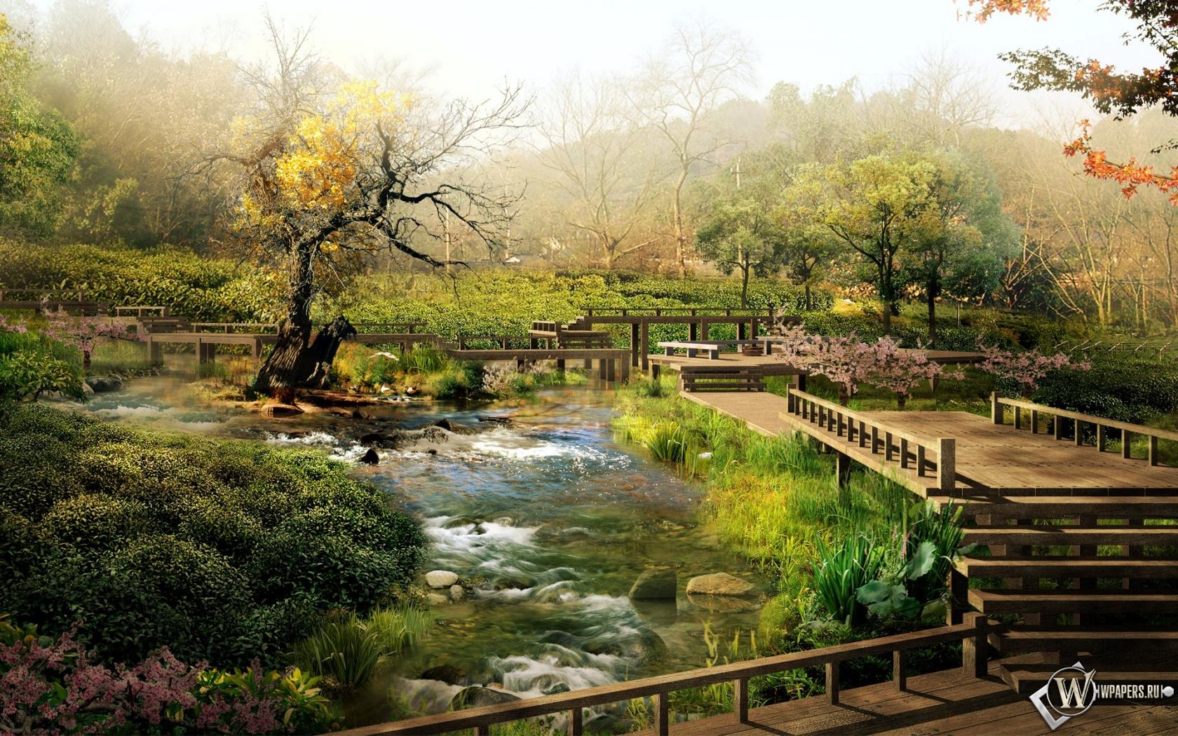 Обои 3d сад 3d сад мостик ручей 1680x1050