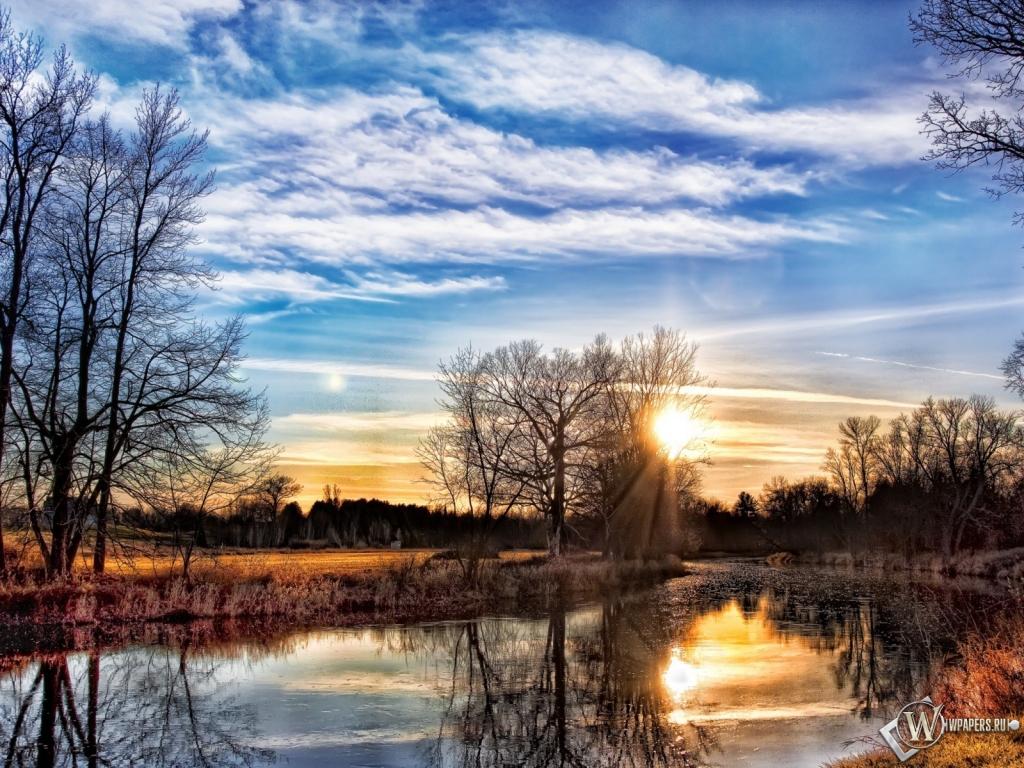 Закат весна берега 1024x768 картинки
