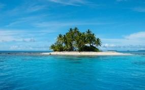 Обои Райский островок: Пальмы, Море, Остров, Тропики, Прочие пейзажи