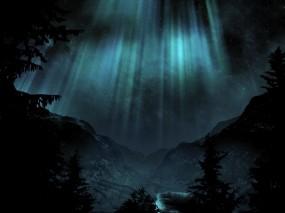 Обои Ночное сияние: Горы, Деревья, Сияние, Ночь, Прочие пейзажи
