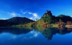 Обои Отражение в озере: Отражение, Вода, Озеро, Япония, Прочие пейзажи