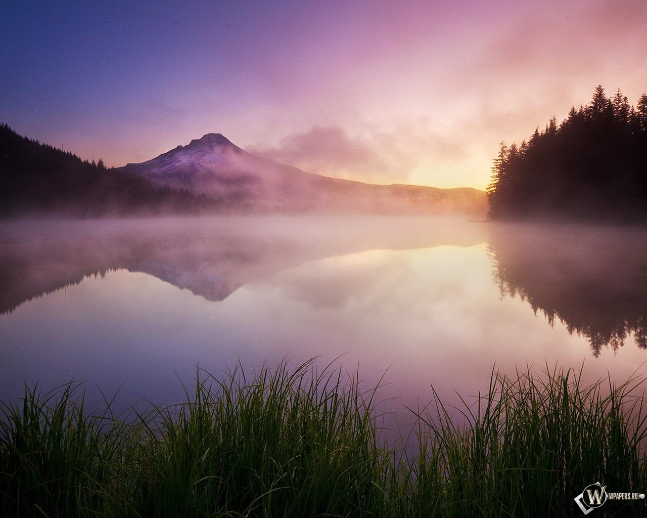 Туман на озере 1280x1024