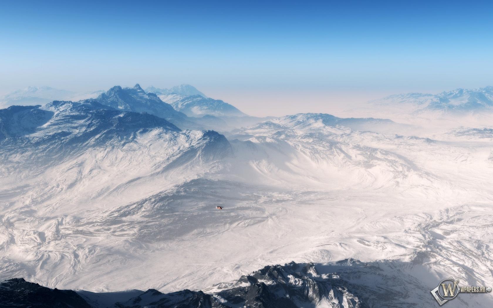Вертолет горы снег 1680x1050 картинки