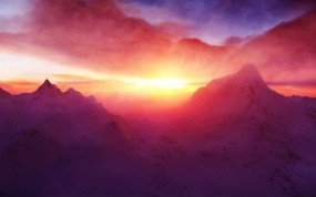 Обои Рассвет на горе: Горы, Закат, Свечение, Горы