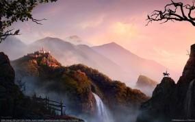 Обои Восход в горах: Горы, Восход, Водопад, Замок, Природа