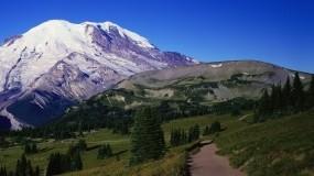 Обои Горная панорама: Горы, Дорога, Деревья, Небо, Горы