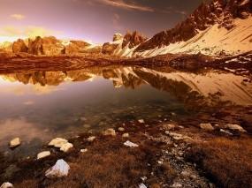Обои Закат в горах: Горы, Камни, Озеро, Горы