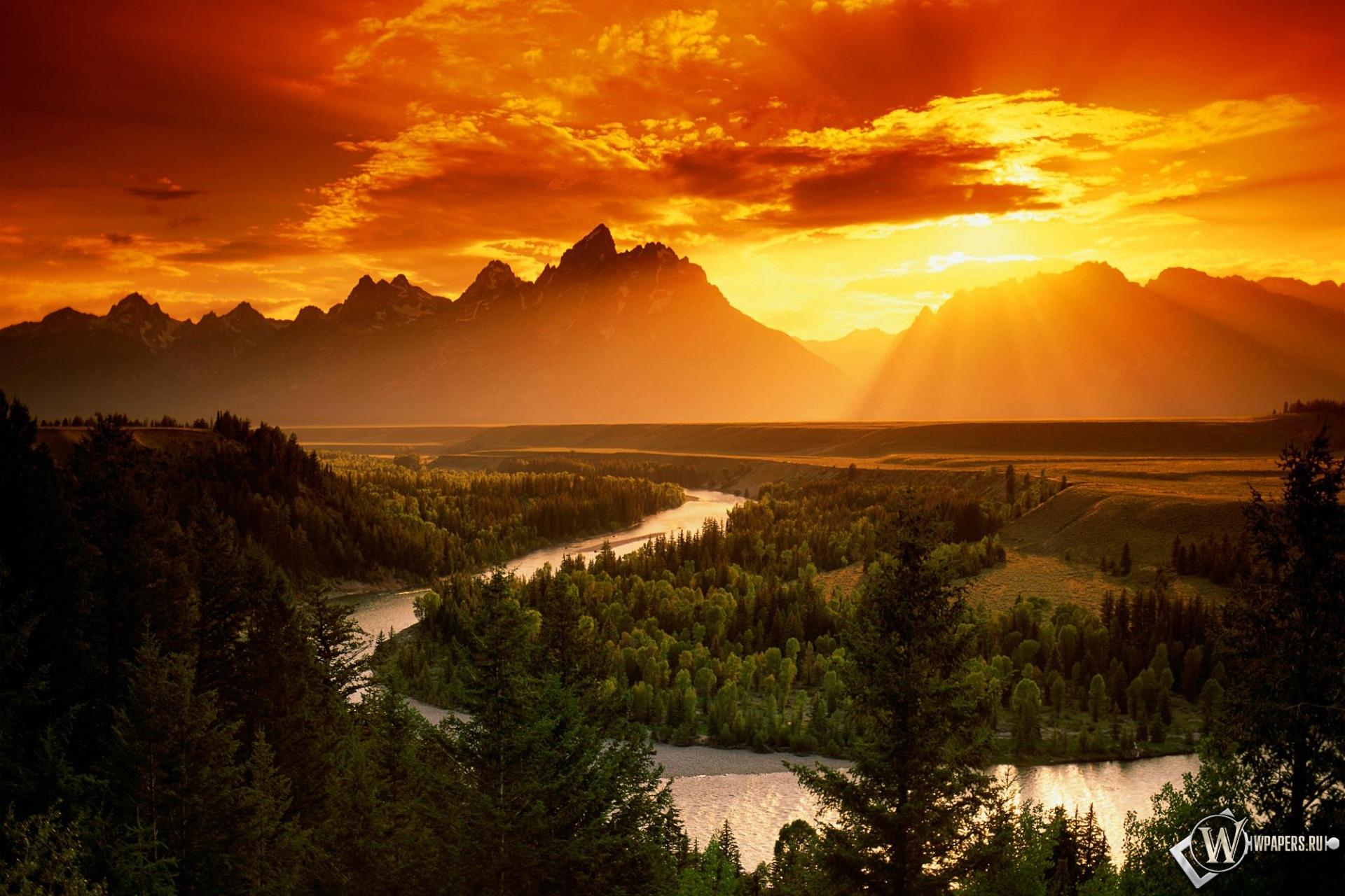 Закат в горах 1920x1280