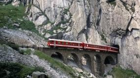 Обои Железная дорога в Швейцарии: Горы, Дорога, Швейцария, Горы