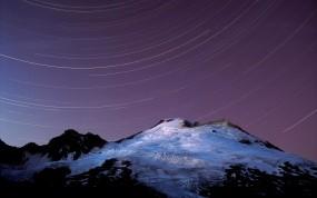 Обои Ночь на горе: Снег, Звёзды, Гора, Горы