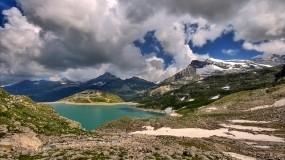 Обои Где-то в горах: Горы, Вода, Камни, Небо, Горы