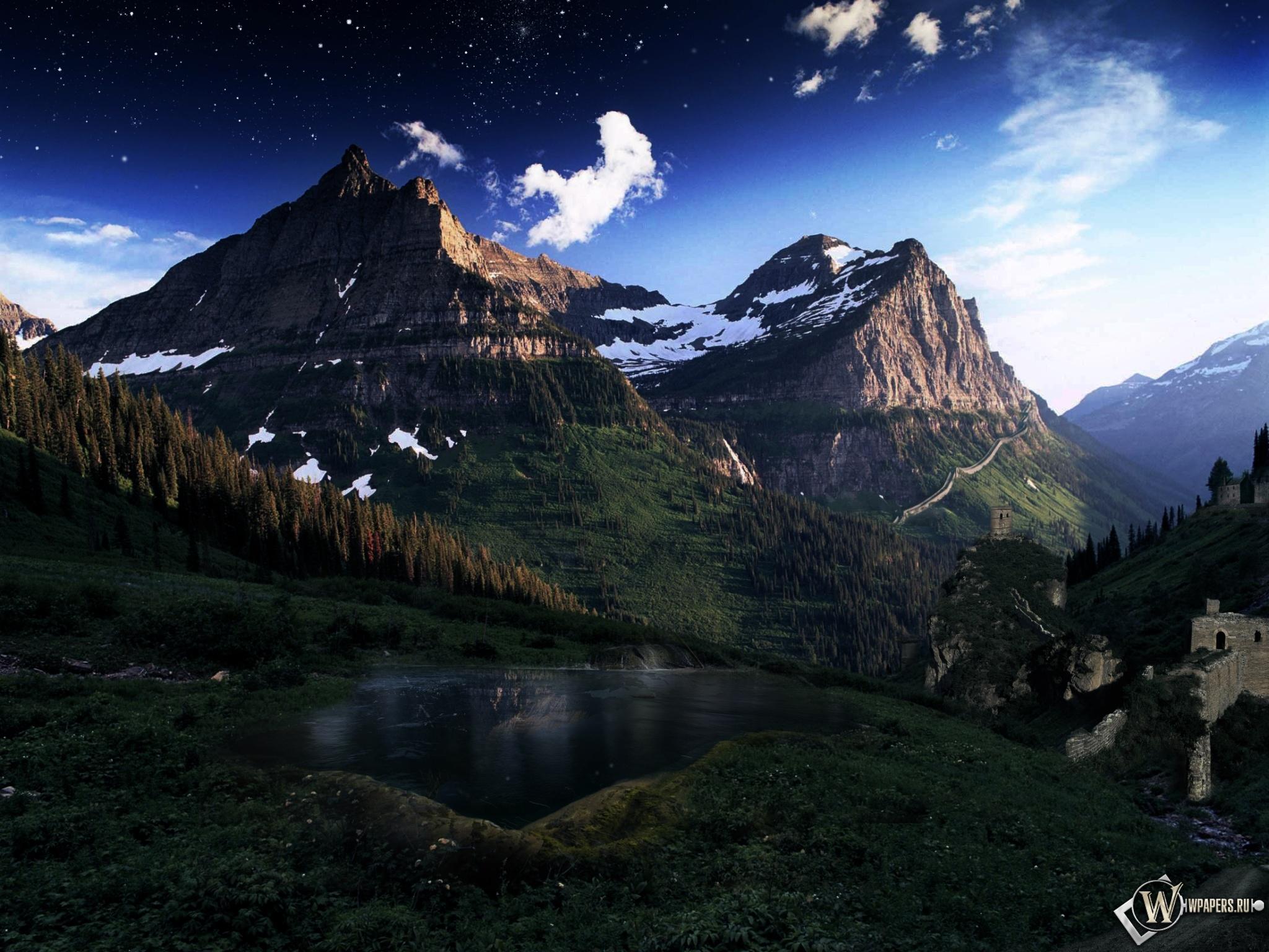 Сумерки в горах 2048x1536
