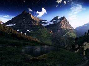 Обои Сумерки в горах: Горы, Природа, Пейзаж, Горы