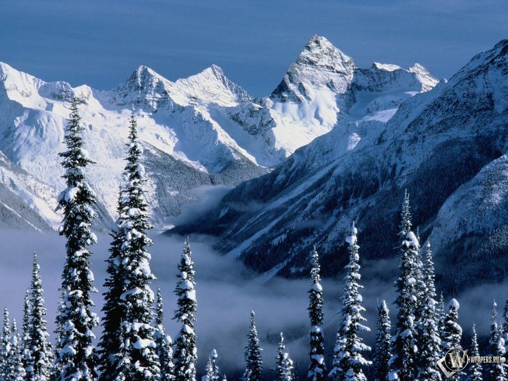 Снежные горы 1024x768