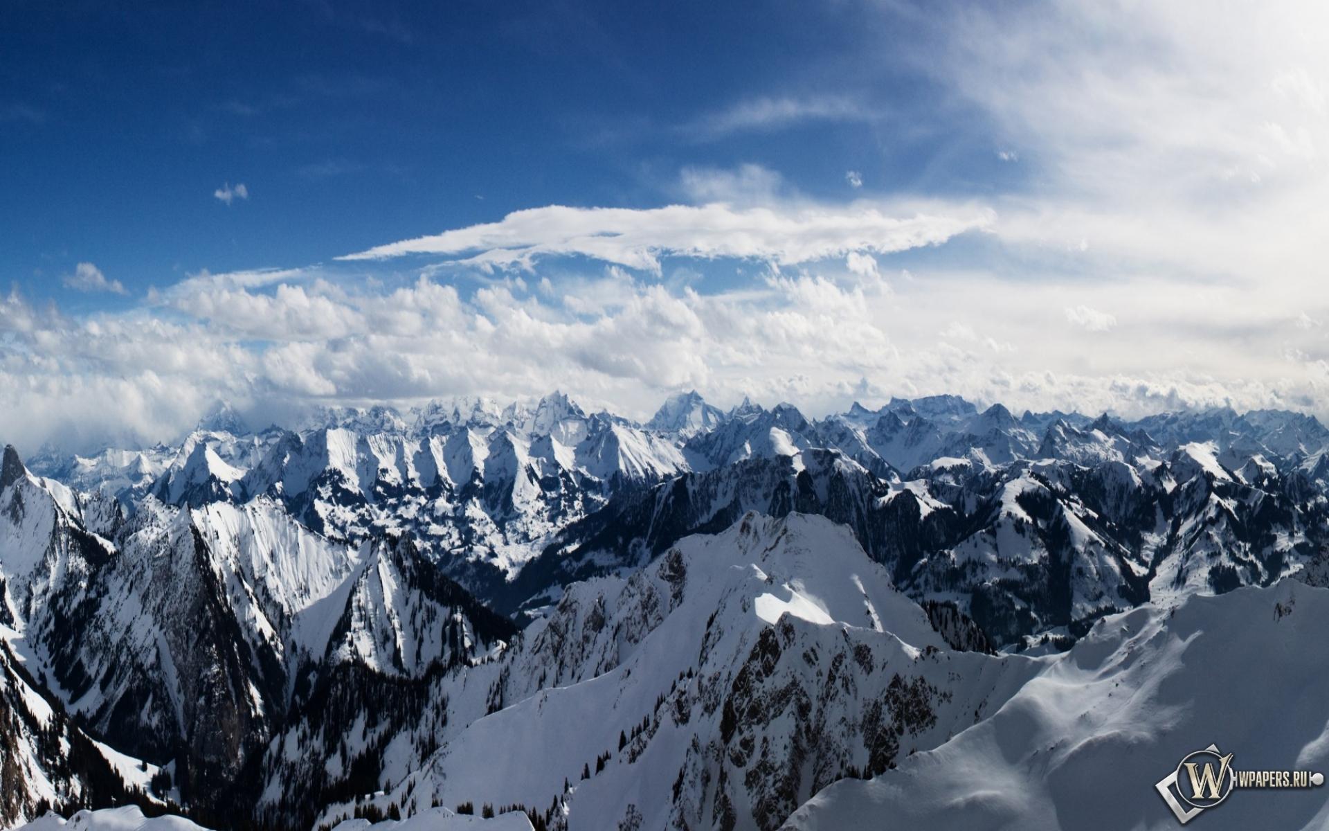 Горы снег альпы небо 1920x1200 картинки