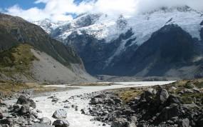 Обои Горная речушка: Горы, Снег, Речка, Горы