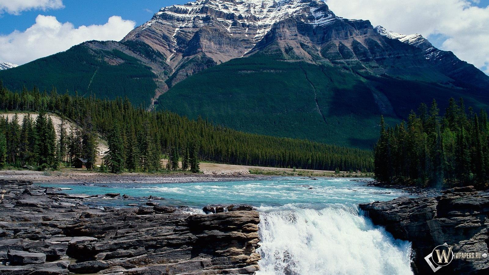 Обои водопад в горах водопад небо