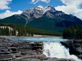 Обои Водопад в горах: Водопад, Небо, Гора, Горы