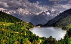 Обои Горное водохранилище: Горы, Водохранилище, Плотина, Горы