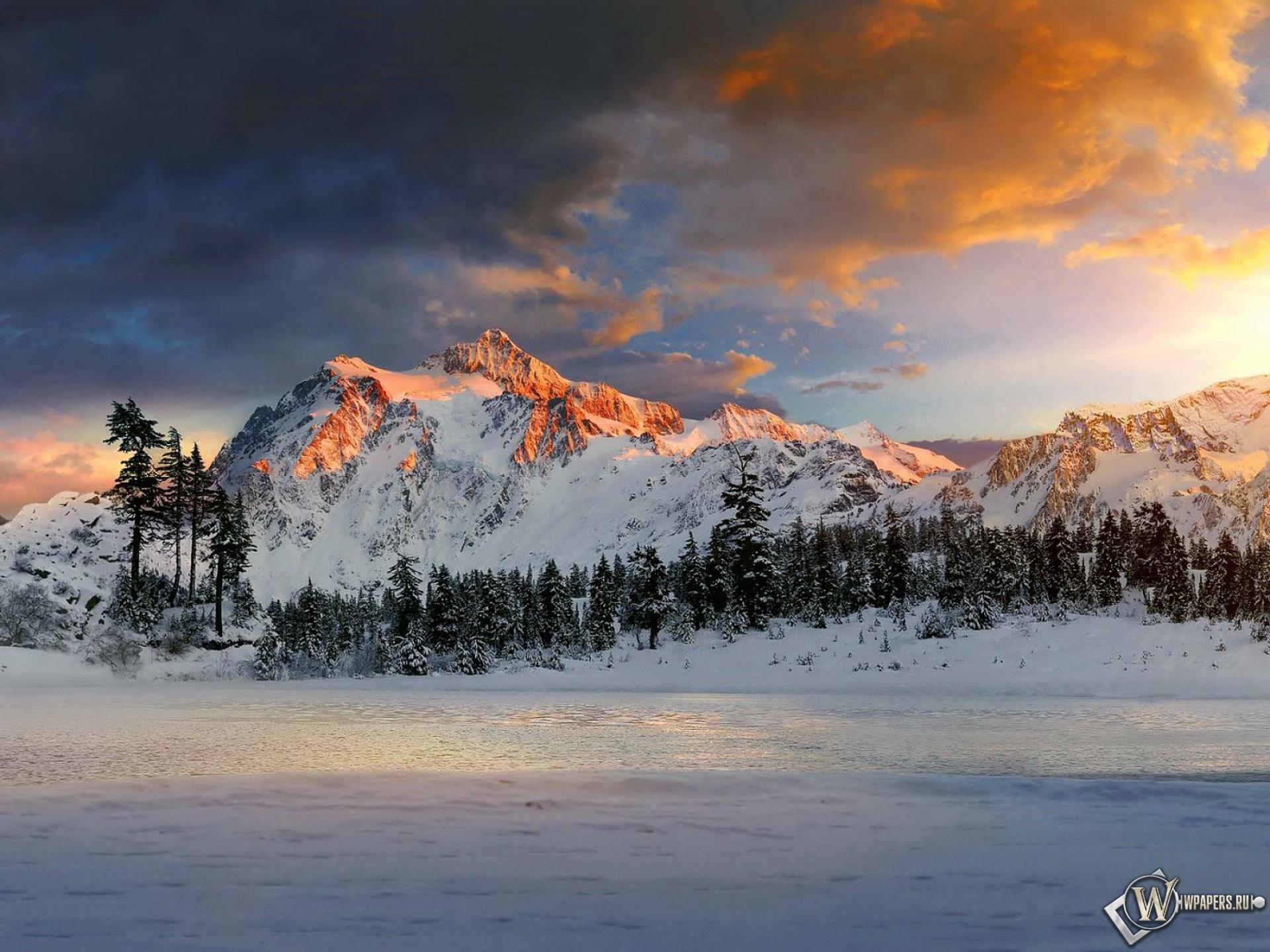 Картинки на рабочий стол горное озеро зимой