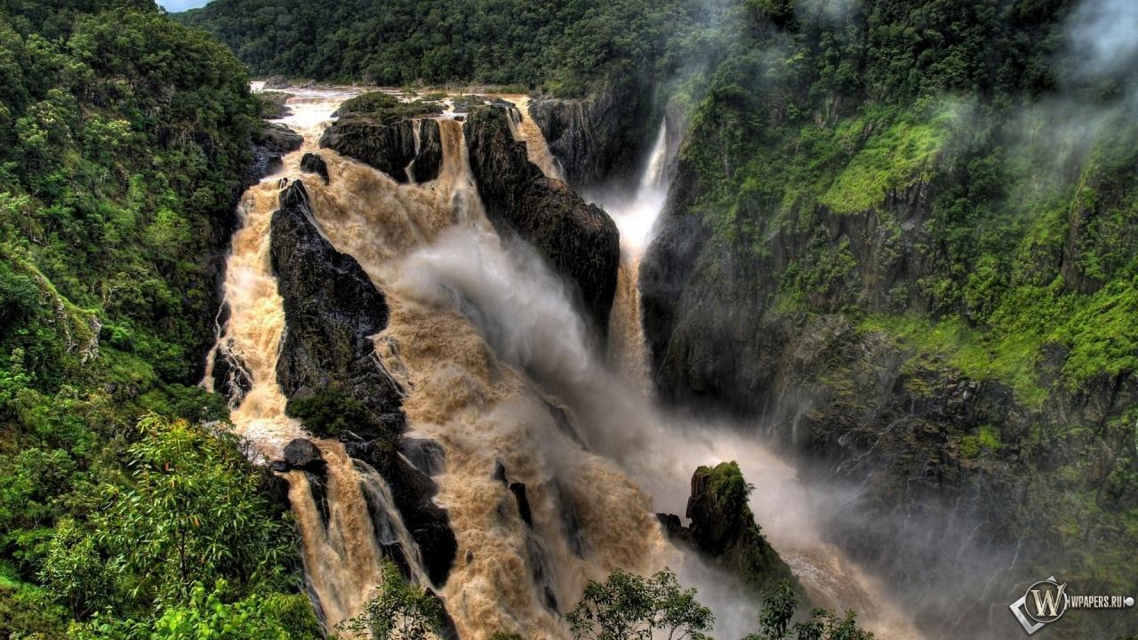Обои грязный водопад горы водопад