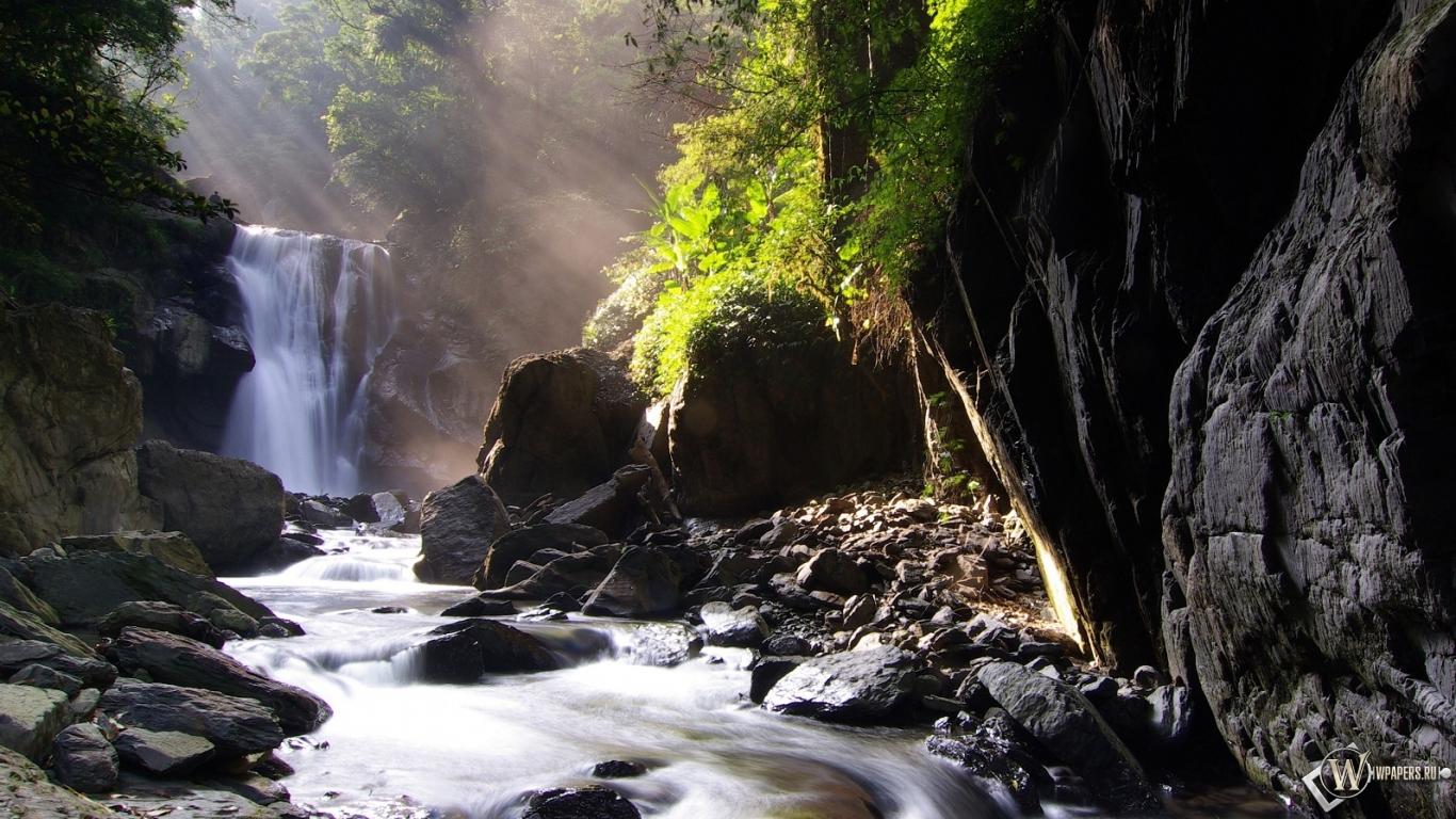 Обои neidong waterfall природа водопад 1366x768