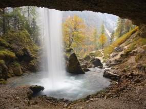 Обои За водопадом: Горы, Камни, Водопад, Поток, Водопады