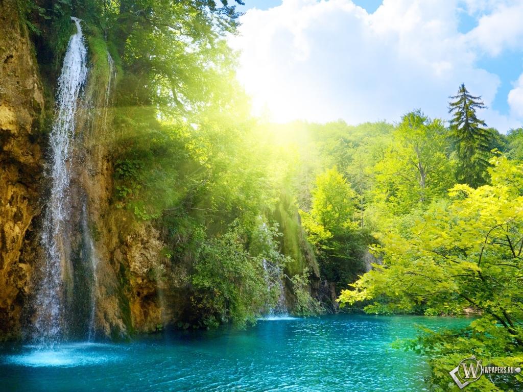 Водопад солнце водопад 1024x768