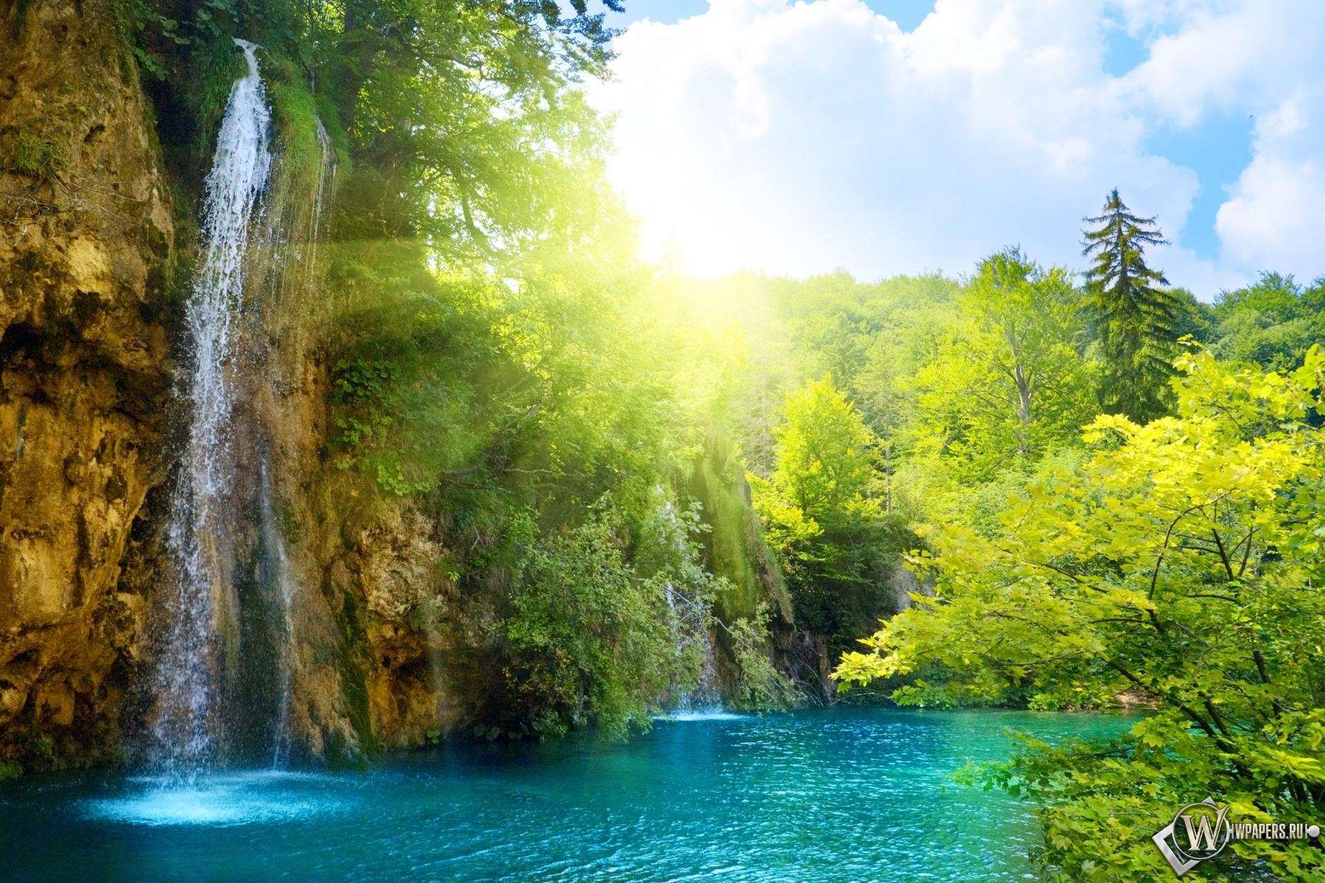 Водопад солнце обоев 201 водопад
