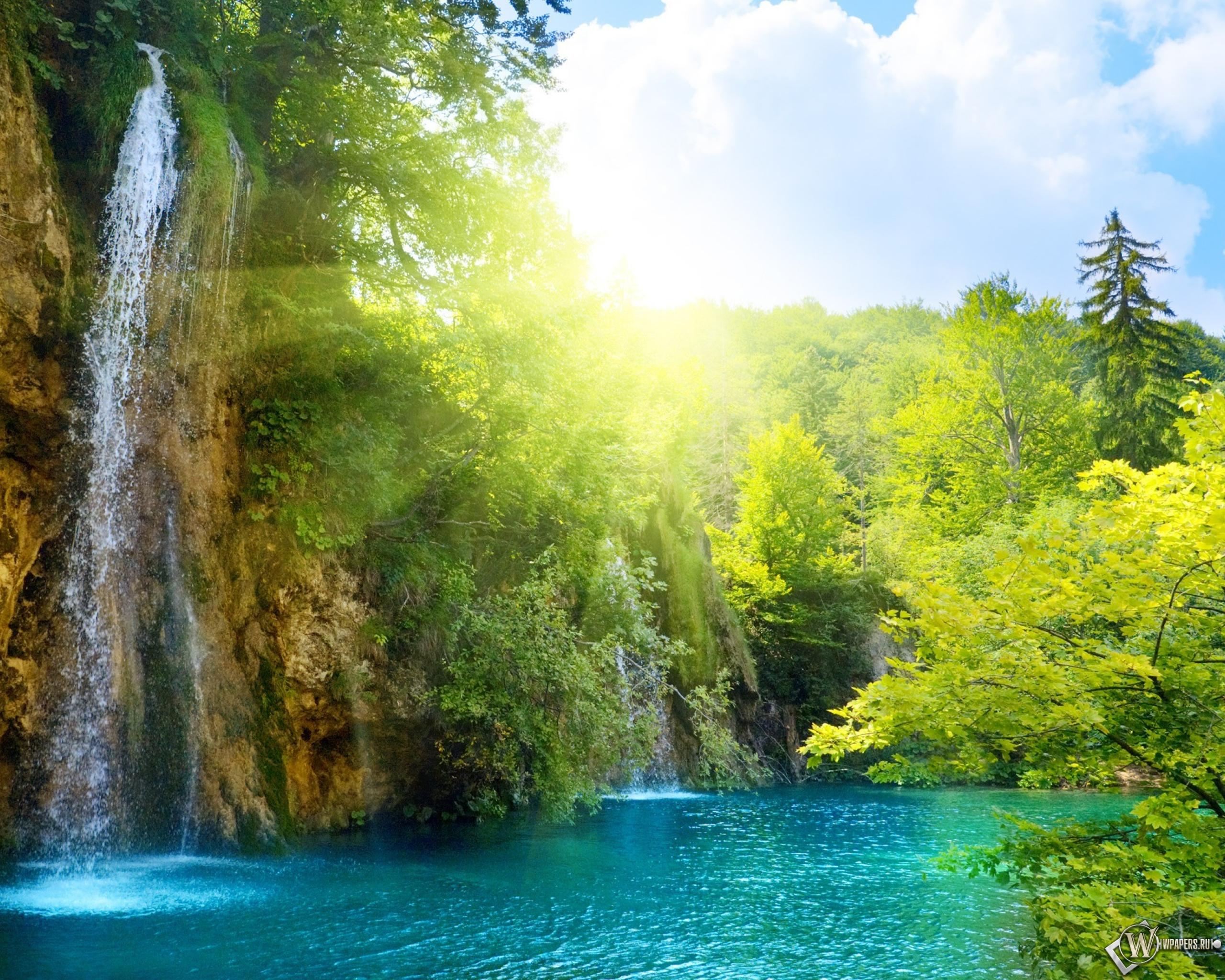 Солнечный водопад солнце водопад