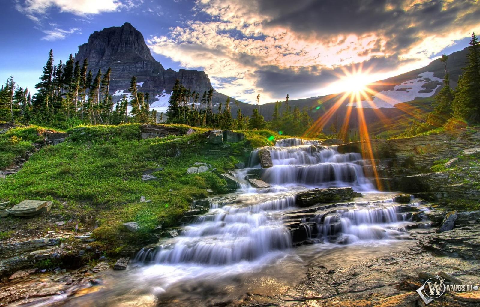 Водопад вода солнце водопад