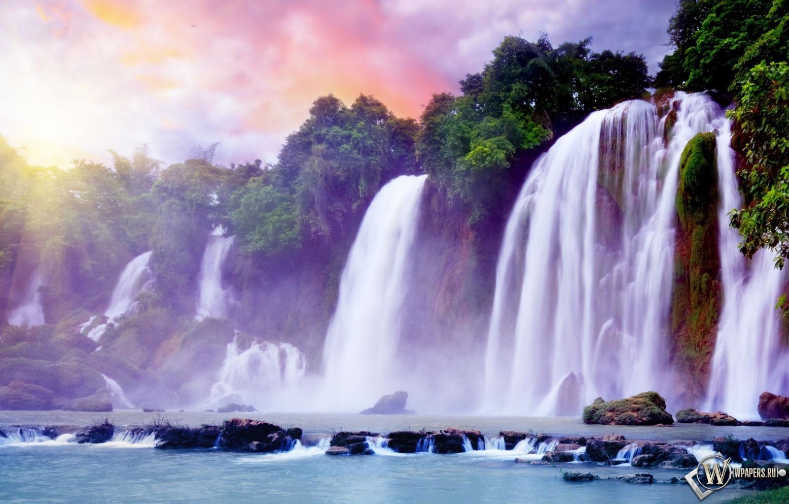 Обои сказочный водопад вода водопад