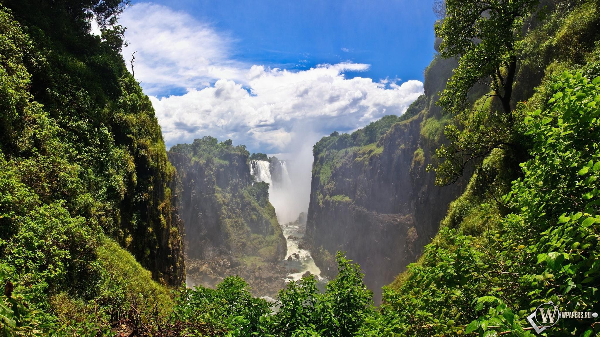 Горный водопад 2048x1152