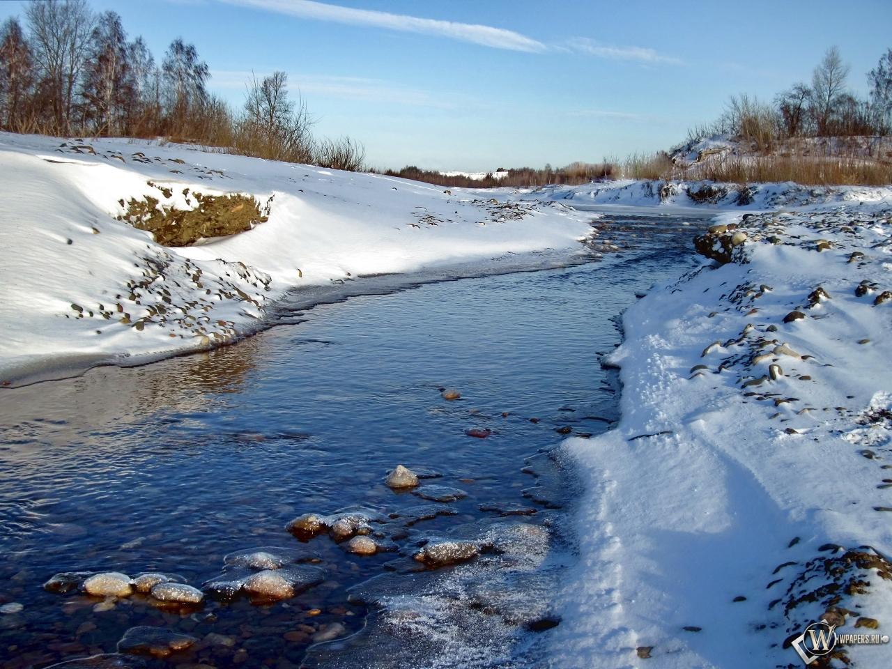 Обои зимний ручей зима пейзаж ручей