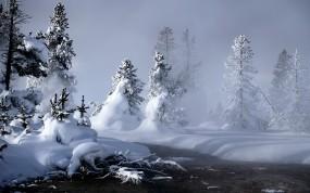 Обои Сугробы: Зима, Снег, Елки, Ручей, Сугробы, Зима